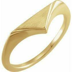 14K Yellow 11.5x6 mm Geometric Signet Ring