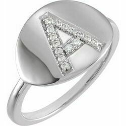 14K White Initial A 1/10 CTW Diamond Ring