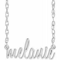14K White Script Nameplate Necklace
