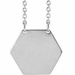 "14K White Engravable 14 mm Hexagon 16"" Necklace"