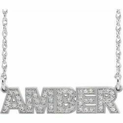 14K White Diamond Accented Nameplate Necklace