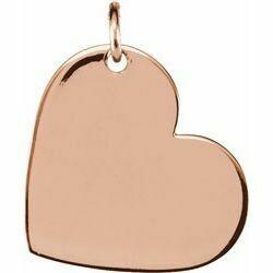 14K Rose 11x9 mm Engravable Heart Pendant