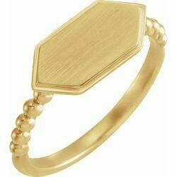 14K Yellow 15x7 mm Geometric Signet Ring