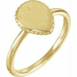 14K Yellow 12x9 mm Teardrop Beaded Signet Ring