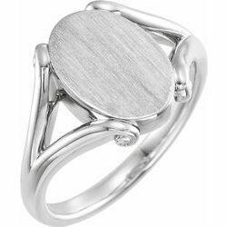 14K White 13x9 mm Oval Signet Ring