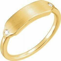 14K Yellow .03 CTW Diamond 18x5 mm Rectangle Signet Ring