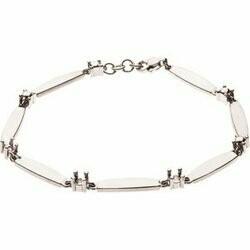 14K White 3-Stone Family Engravable Bracelet Mounting