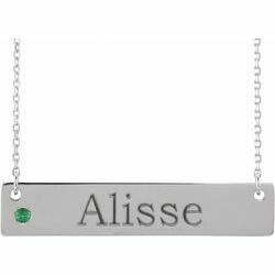 """14K White Chatham® Lab-Created Alexandrite Family Bar 16-18"""" Necklace"""