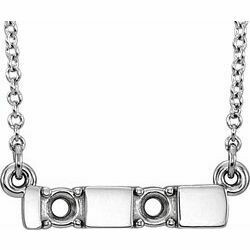 "14K White 2-Stone Family Engravable Bar 18"" Necklace Mounting"