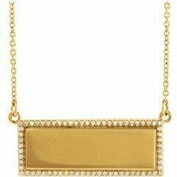 "14K Yellow 1/6 CTW Diamond Engravable Bar 18"" Necklace"