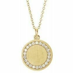 "14K Yellow 1/5 CTW Diamond Engravable 16-18"" Necklace"