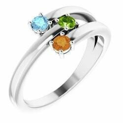 14K White 3-Stone Family Ring Mounting