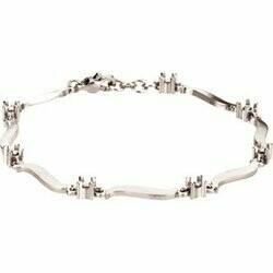 14K White 7-Stone Family Engravable Bracelet Mounting