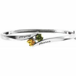 14K White 2-Stone Love Bangle™ Engravable Family Bracelet