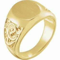 14K Yellow 14x12 mm Scroll Signet Ring