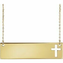 "14K Yellow Pierced Cross Engravable Bar 16-18"" Necklace"