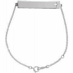 """14K White Pierced Cross Engravable Bar 6 1/2-7 1/2"""" Bracelet"""