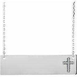 """14K White Engravable .03 CTW Diamond Cross 16-18"""" Necklace"""