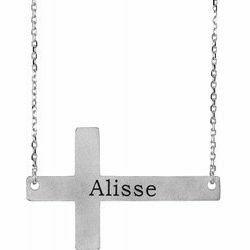 "14K White Engravable Sideways Cross 16-18"" Necklace"