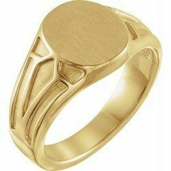 14K Yellow 13x10.5 mm Geometric Signet Ring