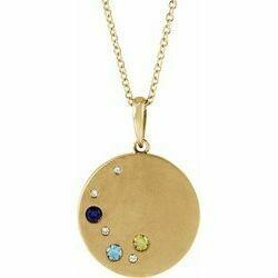 "14K Yellow 3-Stone .02 CTW Diamond Semi-Set Family Circle 16-18"" Necklace"