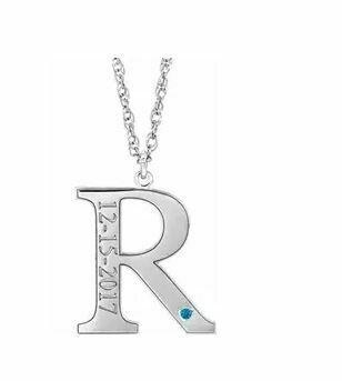 14K White December Engravable Birthstone Initial R Necklace
