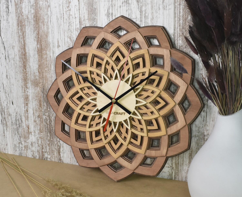 Часы настенные деревянные «Мандала»