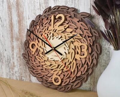 Часы настенные деревянные «Листья»