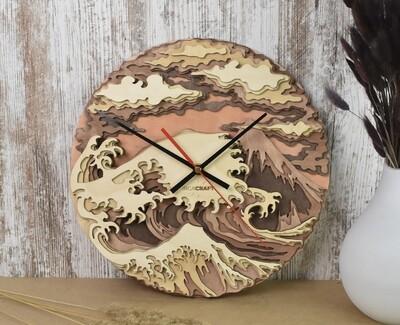 Часы настенные деревянные «Волны»
