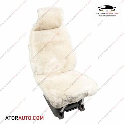 Меховая накидка на автомобильное сидение из натуральной овчины. Белый цвет.