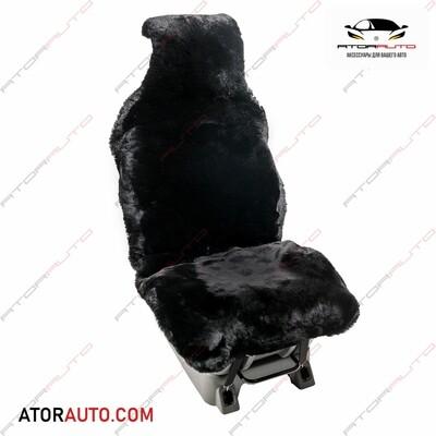 Меховая накидка на автомобильное сидение из натуральной овчины. Черный цвет.