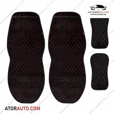 Универсальные накидки Alcantra Luxe на два передних сиденья. Ромб. Алькантара. Цвет: Черный/Красный