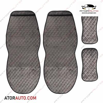 Универсальные накидки Alcantra Luxe на два передних сиденья. Ромб. Алькантара. Цвет: Серый/Серый