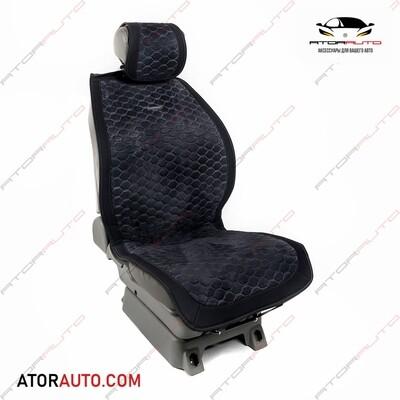 Универсальные накидки Matrix на два передних сиденья. Соты. Алькантара. Цвет: Черный