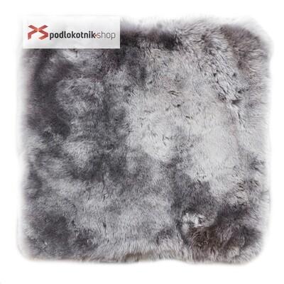 Меховая подушка (квадрат) на автомобильное сидение из натуральной овчины. Цвет СЕРЫЙ