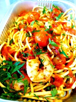 spaghetti with king prawns and chilli