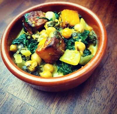 Lemon paneer with chickpeas & spinach