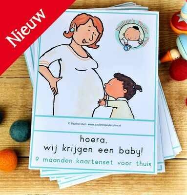Hoera, wij krijgen een baby! ----- 9 maanden kaarten voor thuis