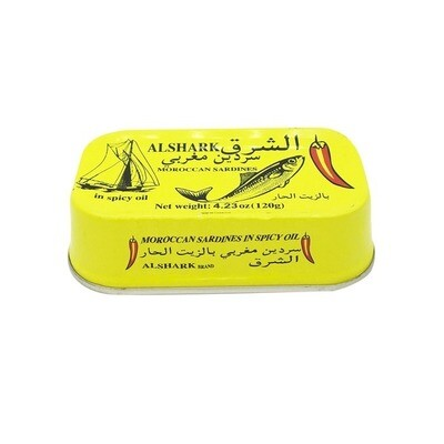 Hot Alshark Sardines in Vegetable Oil, Spicy,  4.3oz