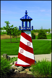 Wood 4' Stars & Stripes Lighthouse
