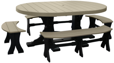 Poly 4' x 6' Oval Table Set #3