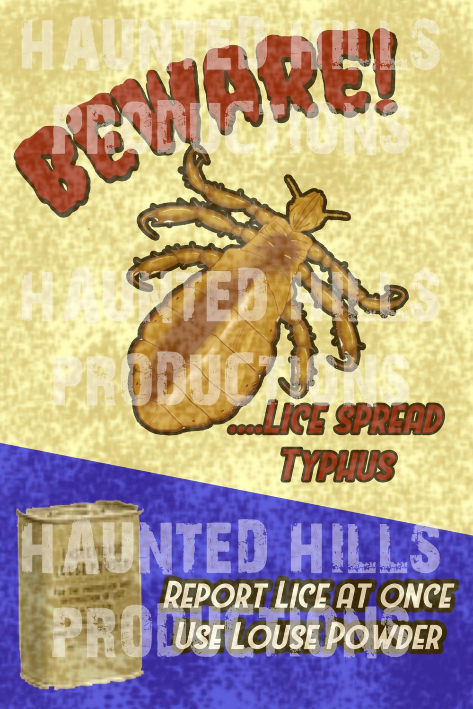 Beware of Lice Vinyl Poster