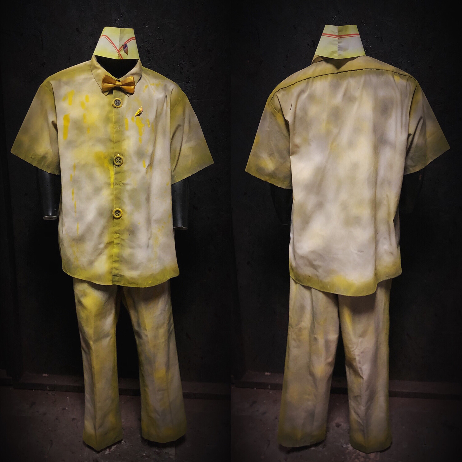 Yellow Ice Cream Clown Costume with Colored Bow Tie 3X