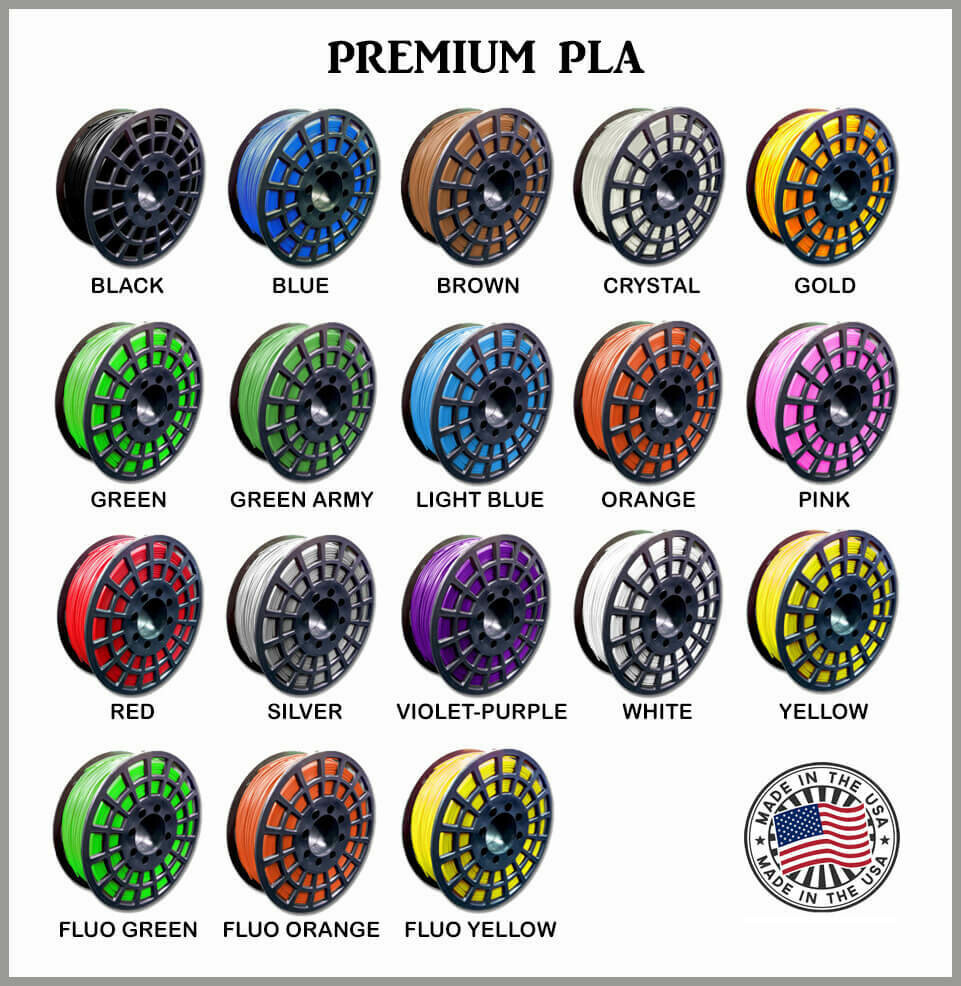 GST PLA+ 3D Printer Filament, 1kg Spool, 1.75mm, +/- 0.01 - Made in USA - 18 NEW Colors!!
