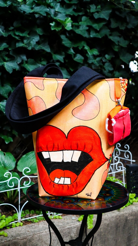 Red Lips Wellness Tote- Artist Original