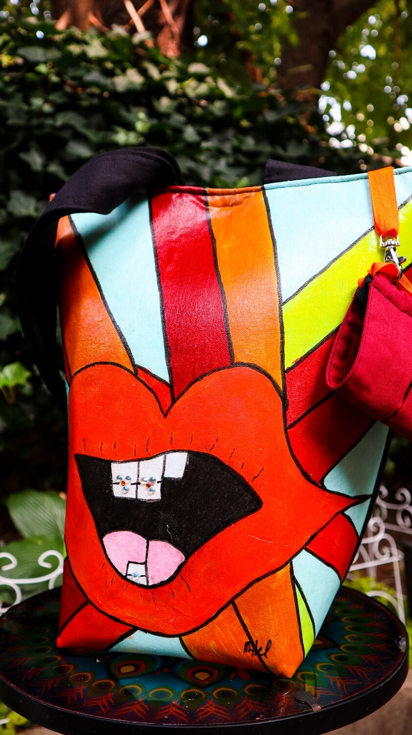 Red Lips and Braces Wellness Tote- Artist Original