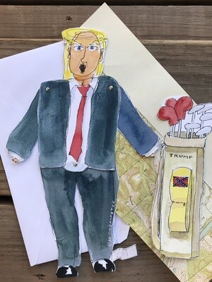 Donald Trump Paper Doll  Complete with Golf Clubs, 100% Biodegradable
