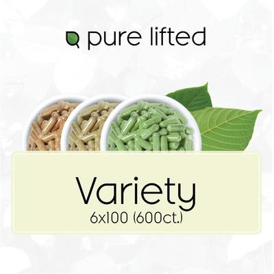 6x100 Kratom Variety Pack (600 Capsules)