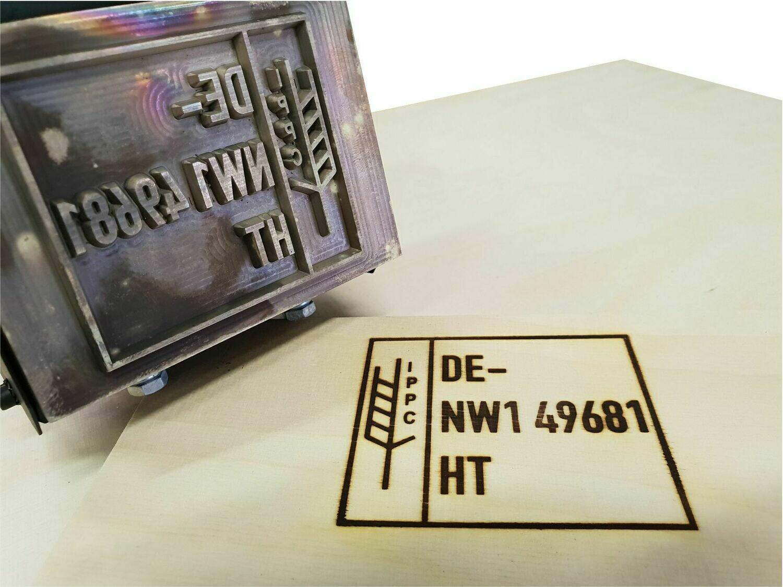IPPC Brennstempel HLP 108 inkl. Logo und Textpaltte