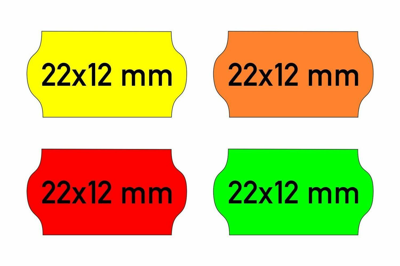 Etiketten 22x12 mm gelb orange rot grün - G2 permanent